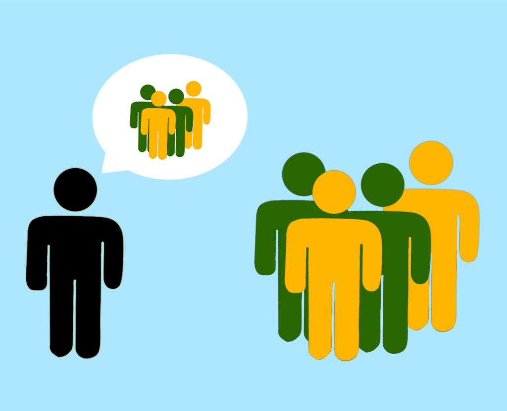 An individual and a group. The individual's thought bubble shows that they are thinking about the group.
